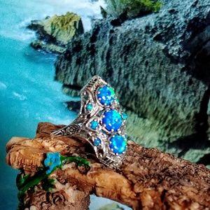 🆕🐳3CT Filigree Opal Ring